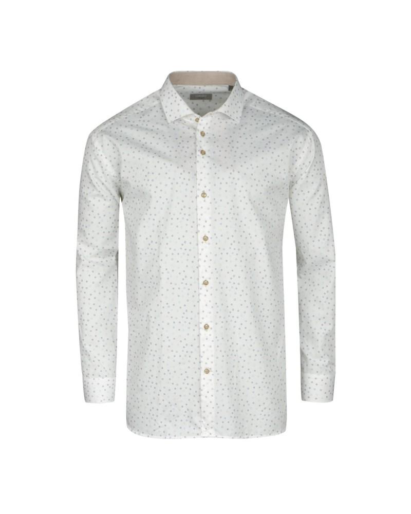 Chemise imprimée blanche : grande taille du 44 (XL) au 50 (4XL)