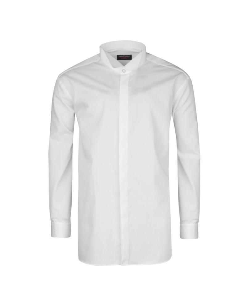 Chemise cérémonie blanche col cassé : grande taille du 44 (XL) au 50 (4XL)