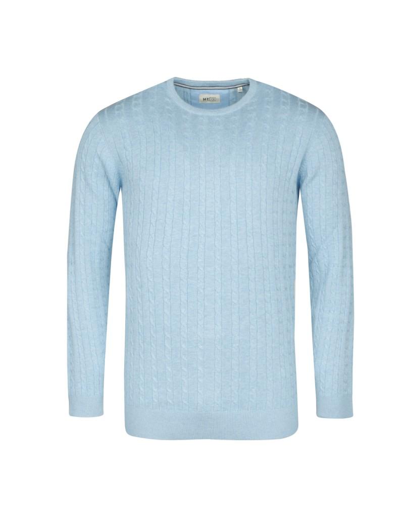 Pull torsades bleu: grande taille du 2XL au 6XL