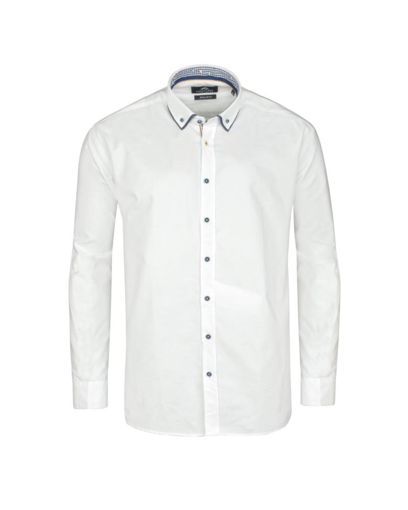 Chemise double col blanc: grande taille du 44 (XL) au 50 (4XL)