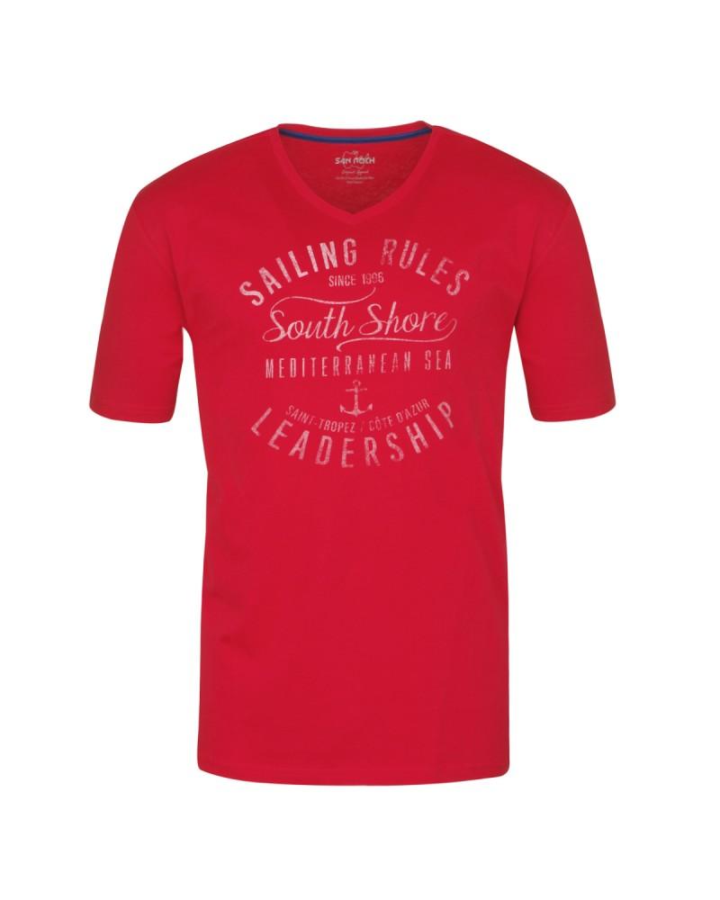 Tee-shirt col V rouge: grande taille du 2XL au 8XL
