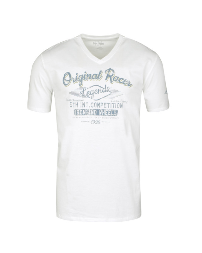 Tee-shirt col V écru: grande taille du 2XL au 8XL