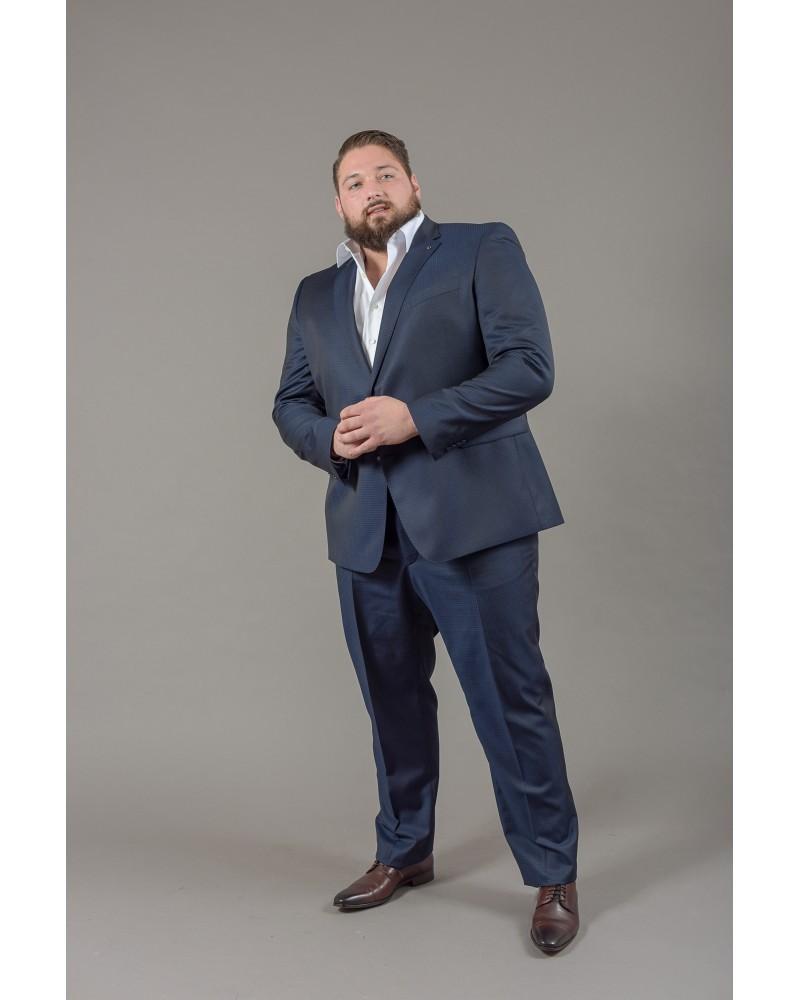 Pantalon de costume préférence vichy bleu : grande taille du 54 au 64