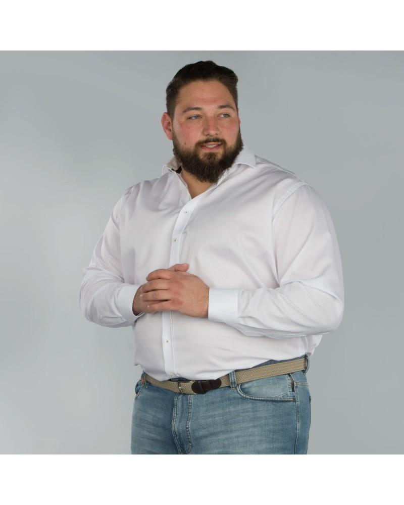 Chemise twill blanc: grande taille du 44 (XL) au 50 (4XL)