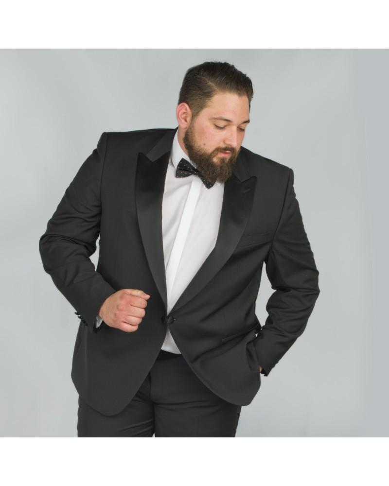 Veste de smoking noir avec satin : pour Homme Fort jusqu'au 66 - Digel