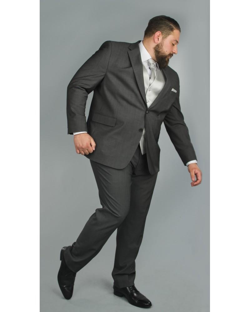 Costume complet grande taille anthracite : veste et pantalon
