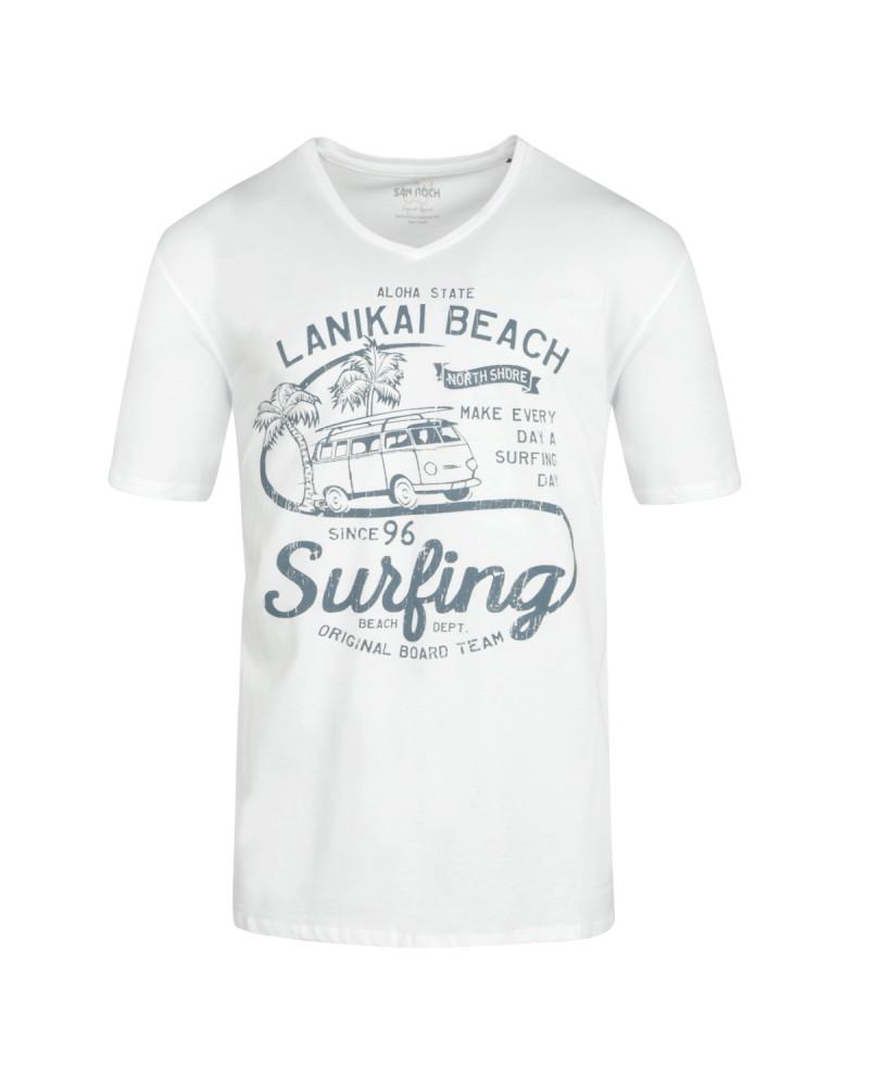 Tee-shirt col V blanc: grande taille du 2XL au 6XL