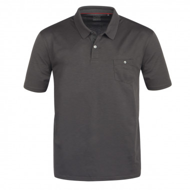 Polo piqué stretch anthracite: grande taille du 2XL au 5XL