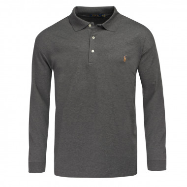 Polo jersey manches longues Ralph Lauren pour homme grand anthracite