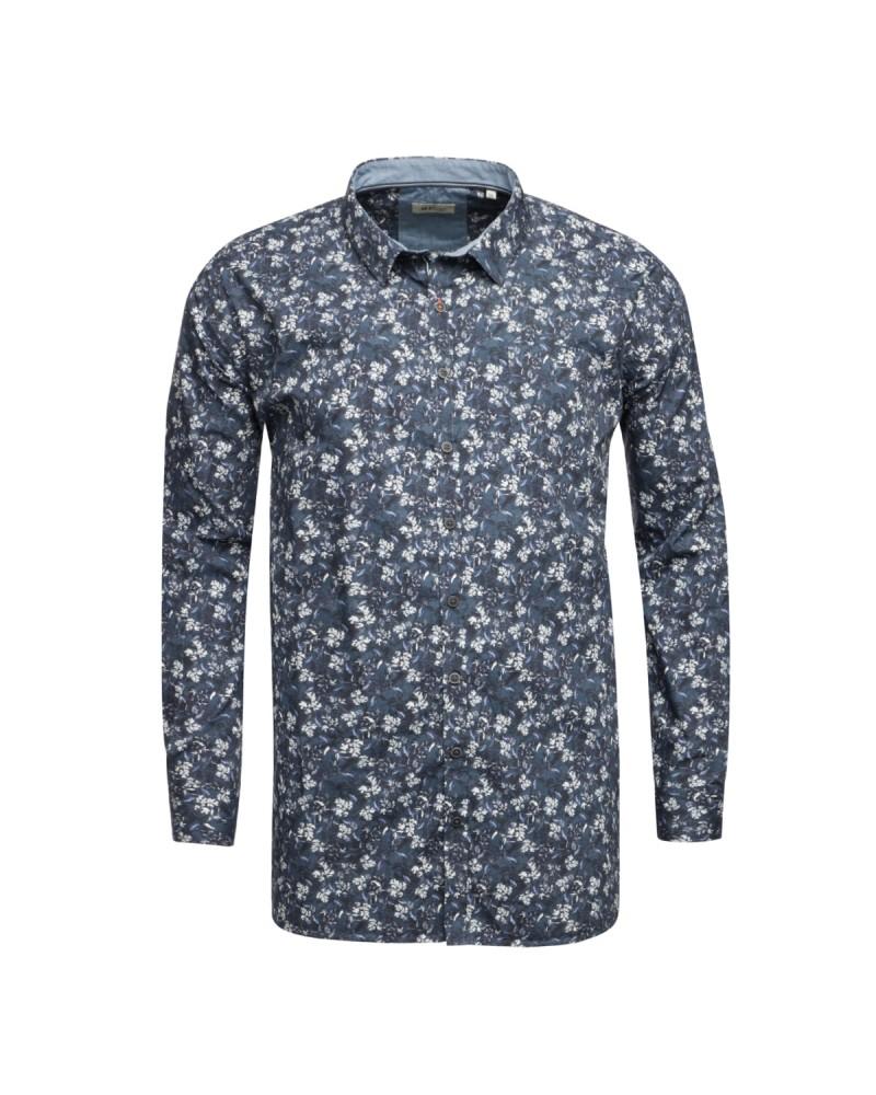Chemise à fleurs MN03 manches extra-longues 72 cm en coton bleue