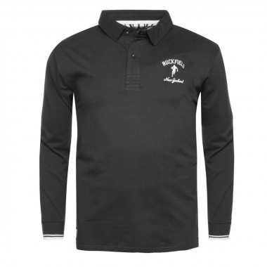 Polo jersey manches longues Ruckfield grande taille noir