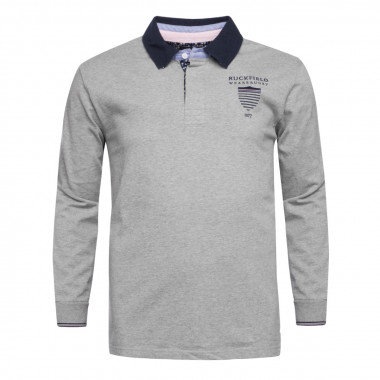 Polo jersey manches longues Ruckfield grande taille gris