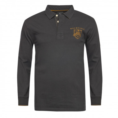 Polo Maison de Rugby jersey manches longues Ruckfield grande taille noir