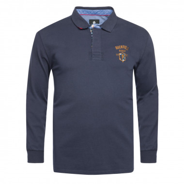 Polo jersey manches longues Ruckfield grande taille bleu marine