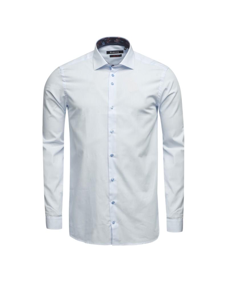 Chemise à rayures cintrée Maneven manches extra-longues 72 cm bleue