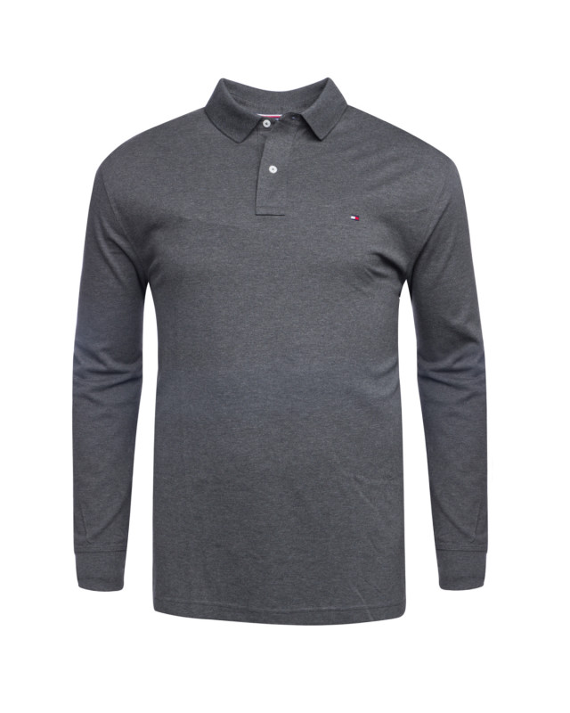Polo manches longues piqué Tommy Hilfiger grande taille anthracite