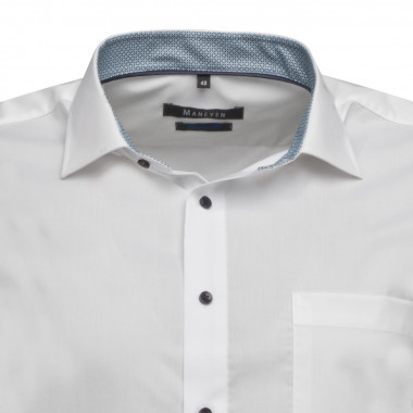 Chemise Maneven manches extra-longues 72 cm blanche avec opposition