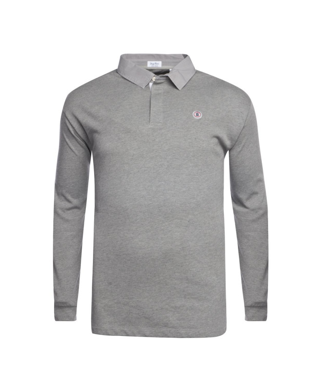 Polo col chemise manches longues Serge Blanco grande taille gris