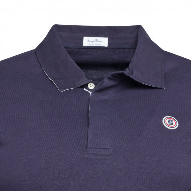 Polo col chemise manches longues Serge Blanco grande taille bleu marine