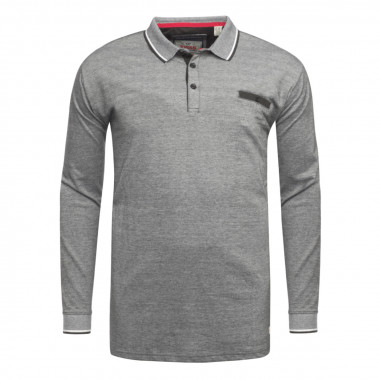 Polo manches longues Duke grande taille gris