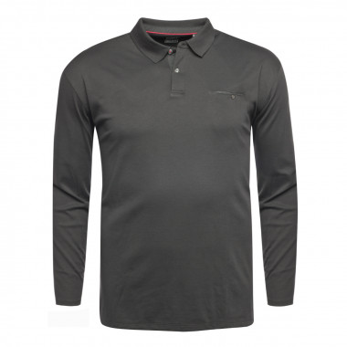 Polo manches longues Maneven grande taille anthracite mercerisé