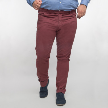 Pantalon chino Maneven bordeaux grande taille