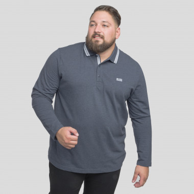 Polo manches longues Hugo Boss grande taille gris