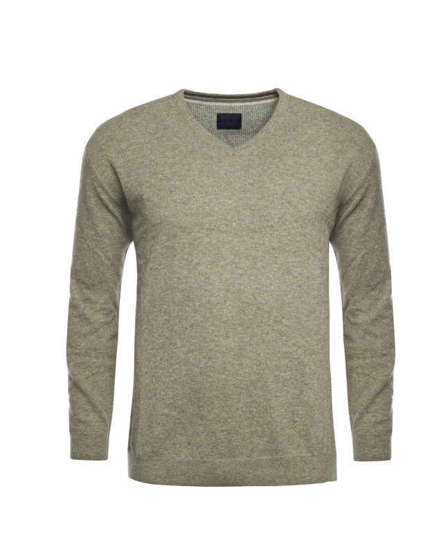 Pull en laine San Roch col V beige manches extra-longues