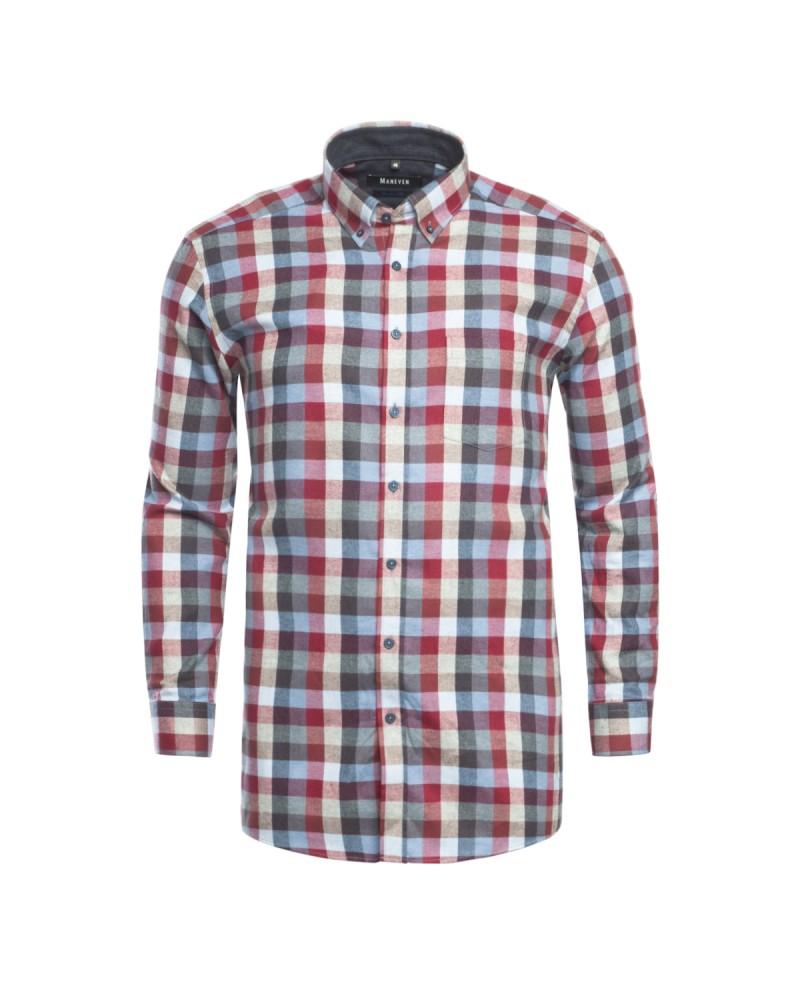 Chemise à carreaux Maneven grande taille en flanelle rouge