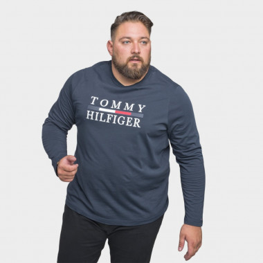 Tee-shirt manches longues floqué Tommy Hilfiger grande taille bleu marine