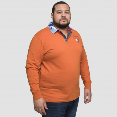 Polo flammé manches longues Ruckfield grande taille orange