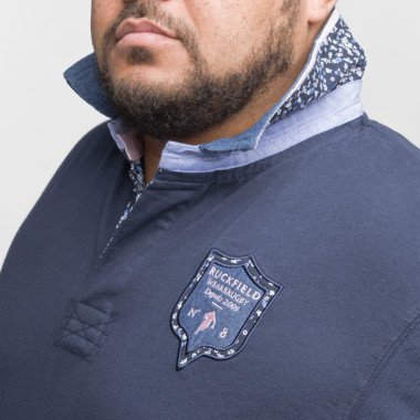 Polo jersey avec broderie manches longues Ruckfield grande taille bleu marine
