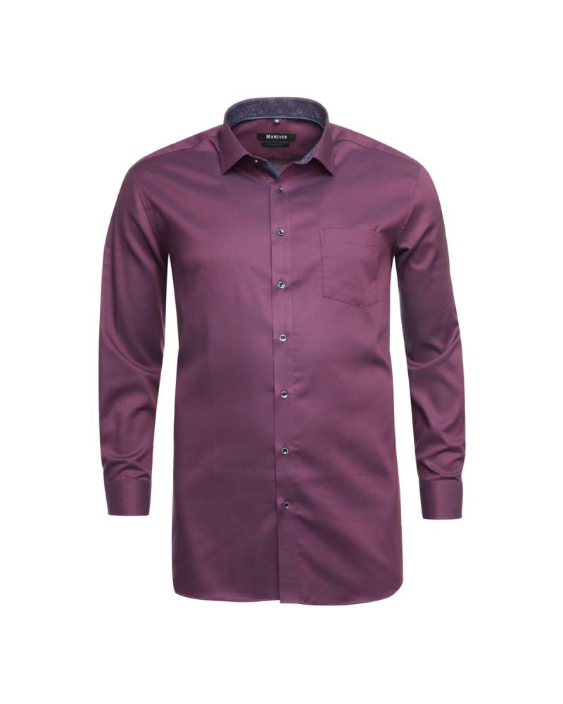 Chemise avec opposition Maneven grande taille en coton bordeaux