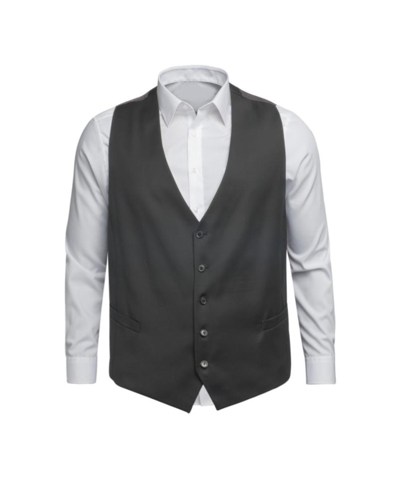 Gilet de costume noir: grande taille du 58 au 68