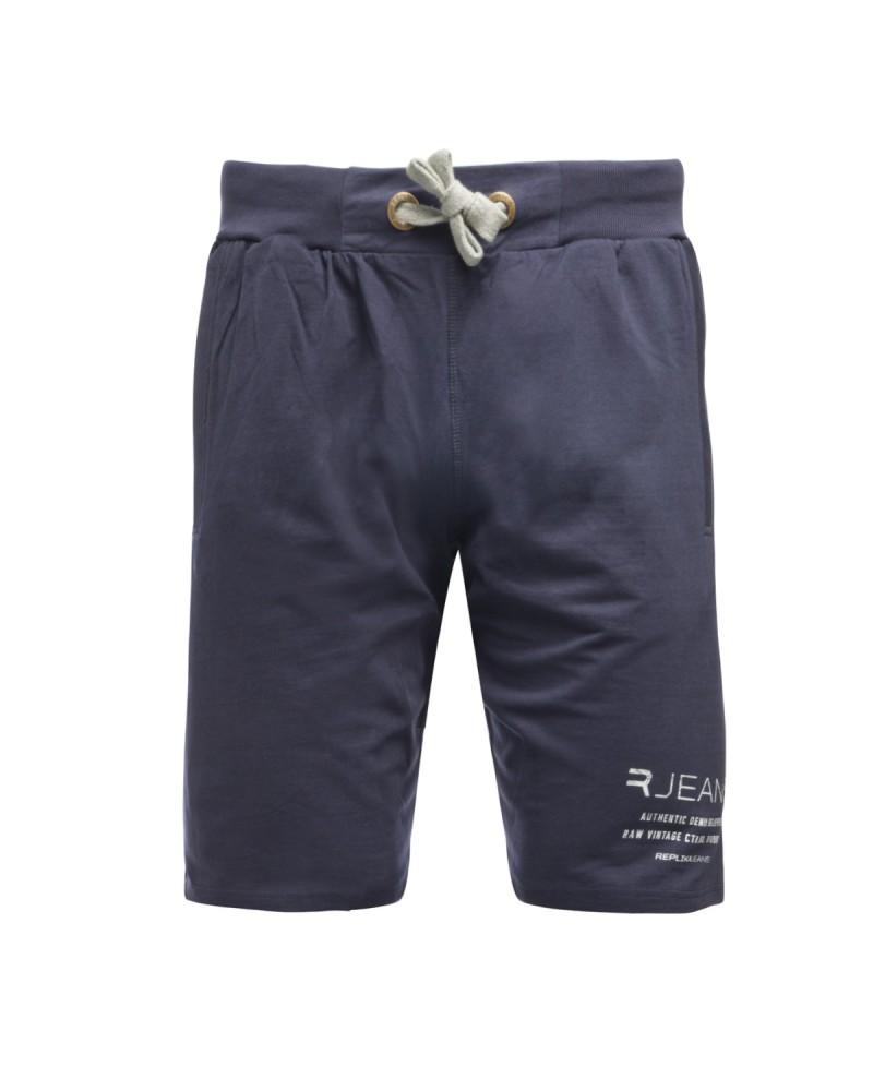 Short Replika en molleton grande taille bleu marine en coton