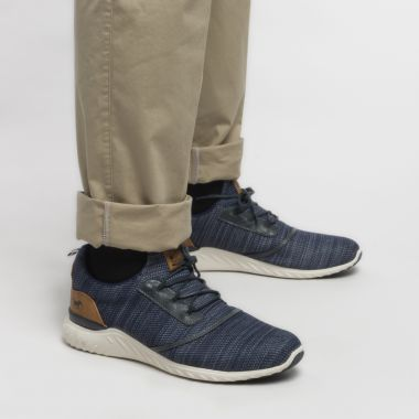 Sneakers Mustang chinés grande taille pour homme bleu marine