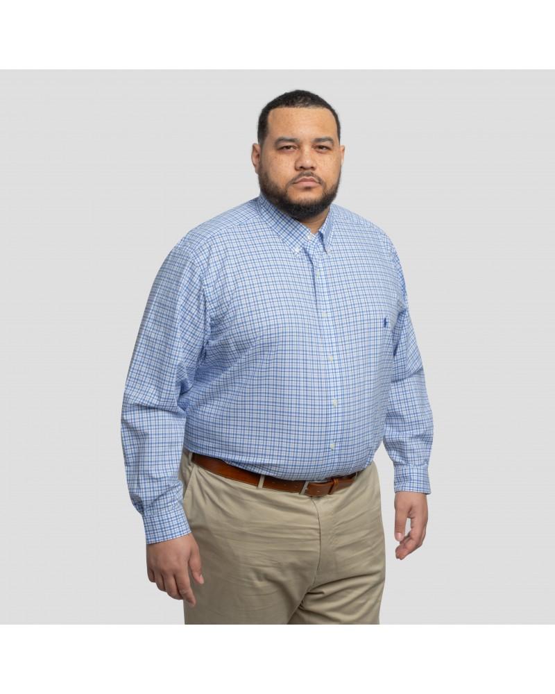 Chemise manche longue popeline stretch carreaux Ralph Lauren grande taille bleu