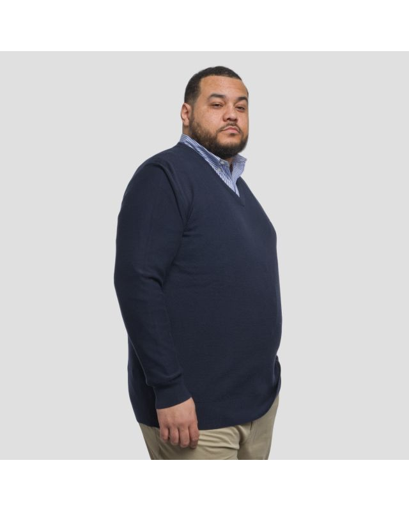 Pull col V Eden Park en coton armuré grande taille bleu marine