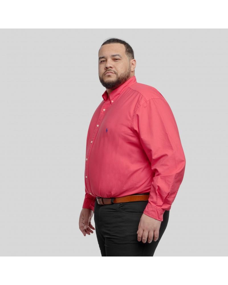 Chemise manche longue garment dyed oxford Ralph Lauren grande taille rouge