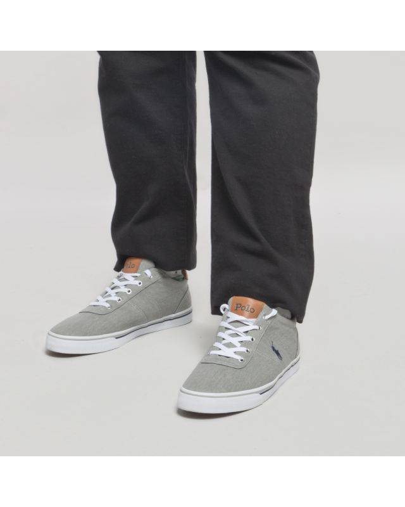 Sneakers Ralph Lauren Hanford en toile grande taille grises