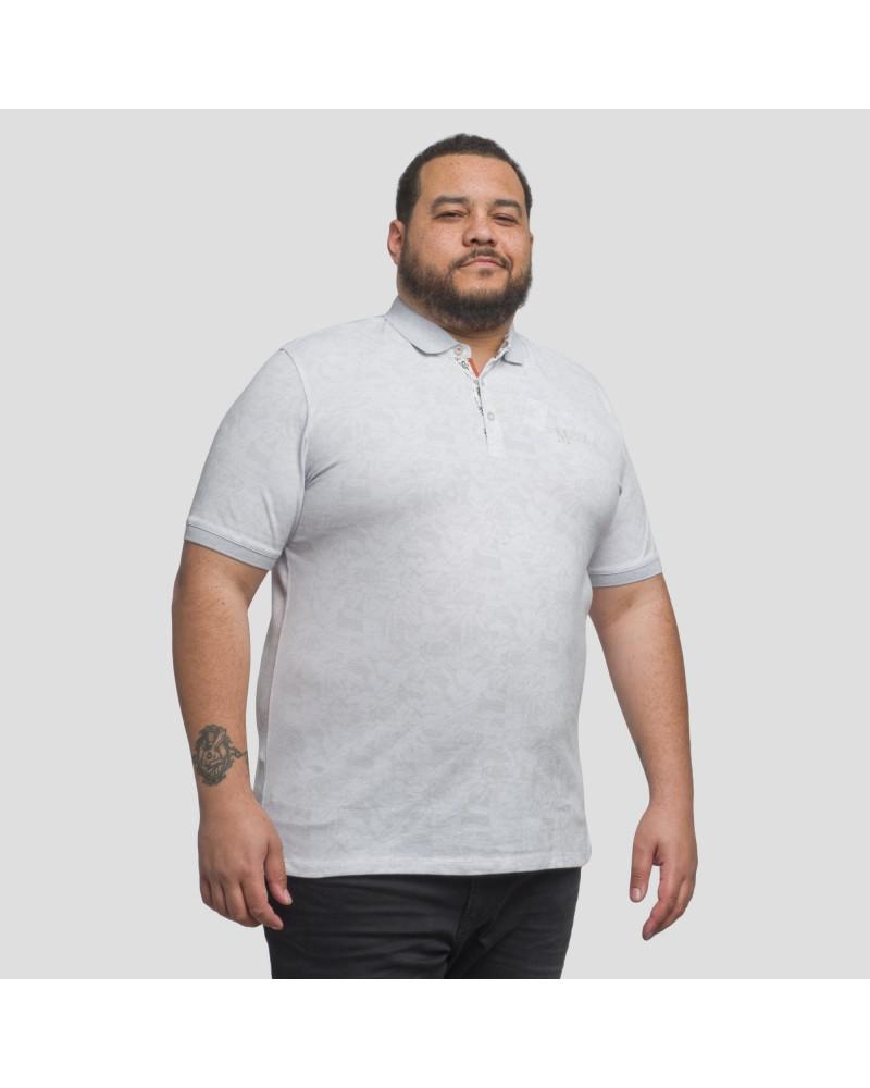 Polo piqué Mode Monte Carlo imprimé grande taille pour homme gris clair