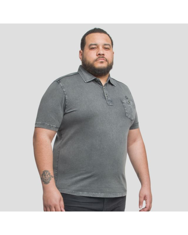 Polo jersey Mode Monte Carlo délavé grande taille pour homme gris