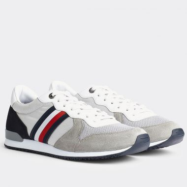 Sneakers Tommy Hilfiger Material Mix Runner grande taille gris