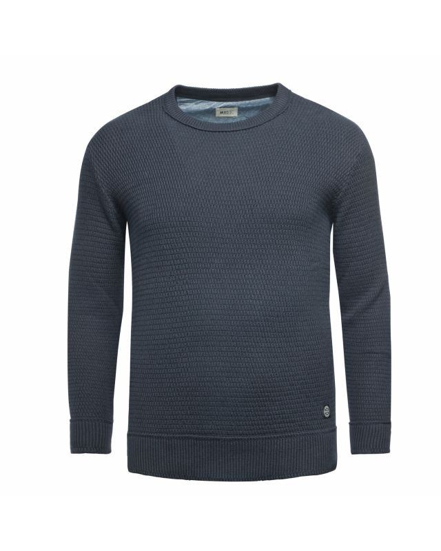 Pull col rond chiné MN03 grande taille bleu marine