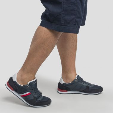 Sneakers Tommy Hilfiger Material Mix Runner grande taille bleu marine