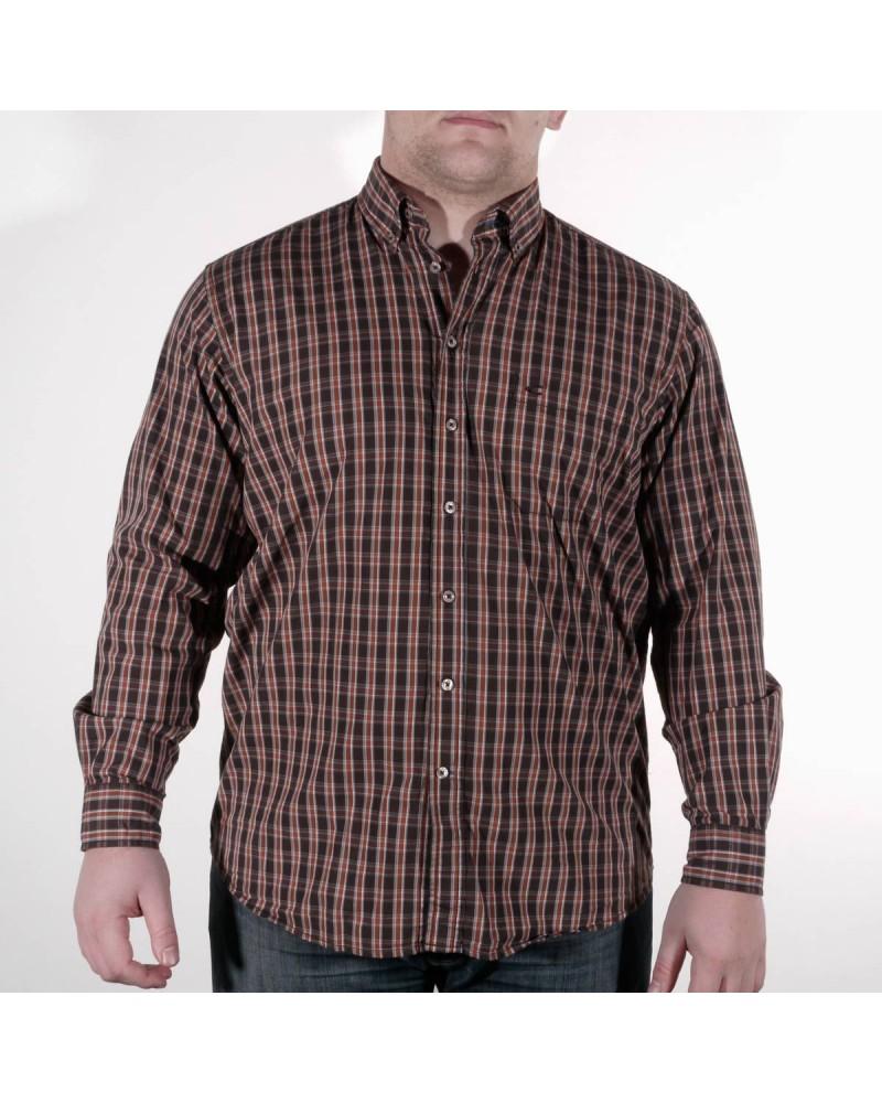 Chemise à carreaux orangés : grande taille du XL au 6XL