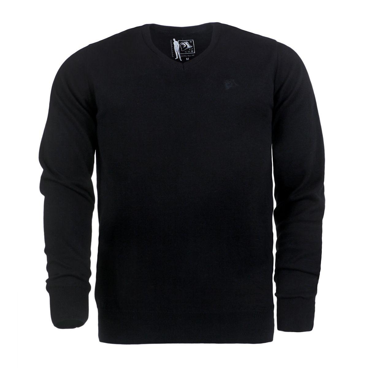 pull noir col v pour homme grand du m au 2xl size factory cub jeans. Black Bedroom Furniture Sets. Home Design Ideas