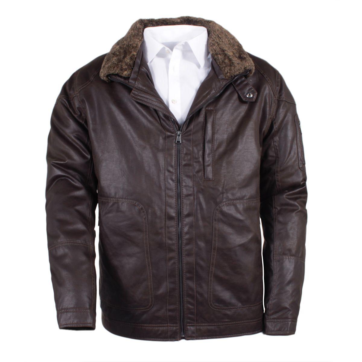 Blouson simili cuir marron grande taille du 3xl au 8xl size factory s4 - Cuire marron au four ...