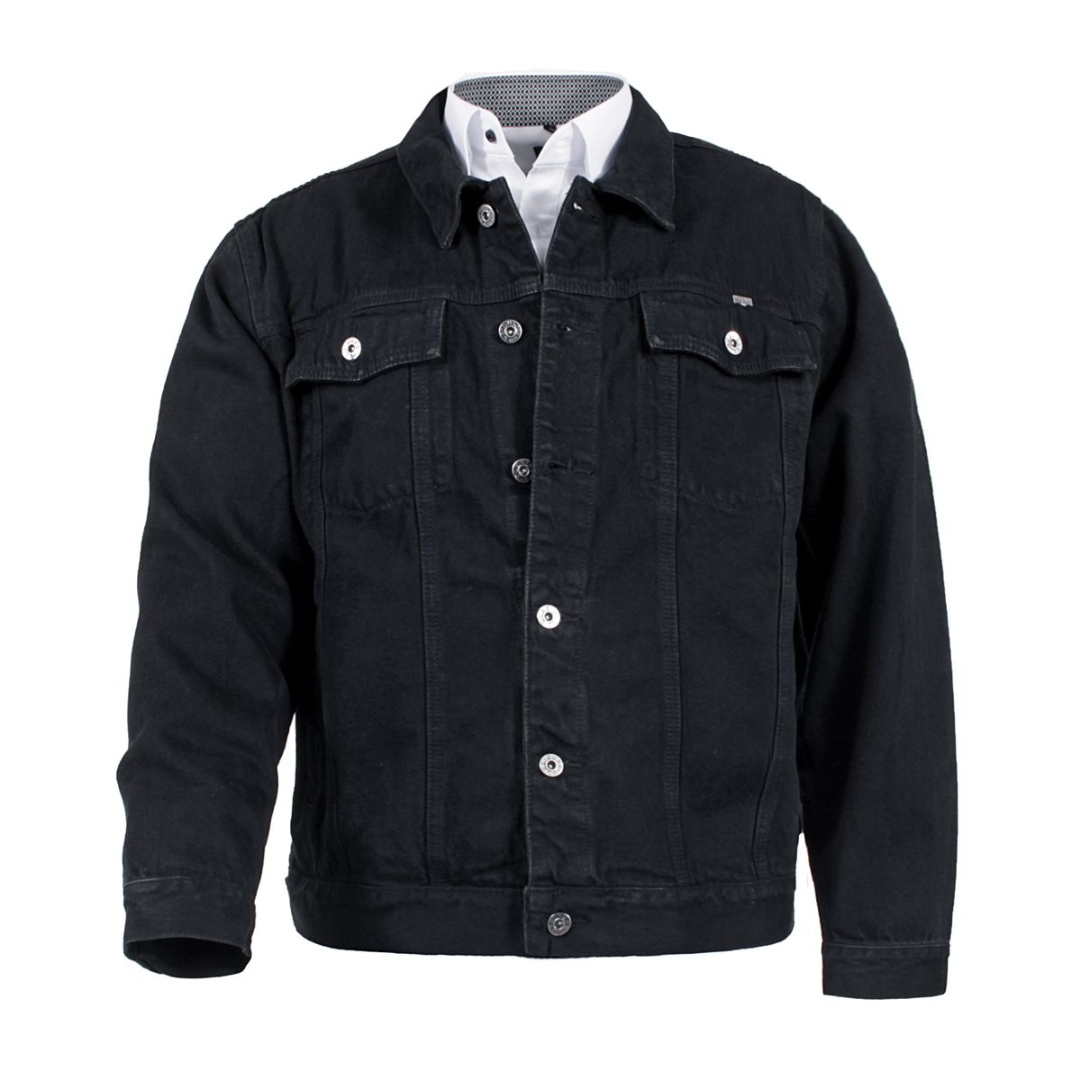 veste en jean noire trucker grande taille jusqu 39 au 6xl duke duke. Black Bedroom Furniture Sets. Home Design Ideas