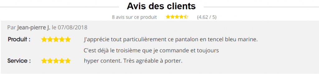 avis clients pantalon 1214